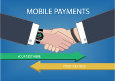 Flat design style  illustration of modern smart watch with processing of mobile payments from one device to another Stock Image