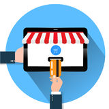 Flat design style illustration of modern smartphone with the processing of tablet payments from credit card on the screen Near fie Stock Image
