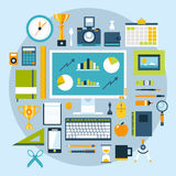 Flat design style modern  illustration icons set of office items and tools Royalty Free Stock Photography
