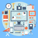 Flat design style modern  illustration icons set of office items and tools Royalty Free Stock Images