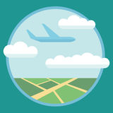 Flat design style modern vector illustration concept of modern detailed airplane flying through clouds in the blue sky. Isolated o Royalty Free Stock Photos