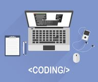 Flat design style modern vector illustration concept of programmer or coder workflow for website coding. And html programming of web application.  on stylish Stock Images