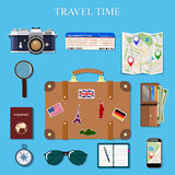 Flat design style modern vector illustration icons set of planning a summer vacation, travelling on holiday journey Royalty Free Stock Photos