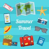 Flat design style modern vector illustration of summer travelling elements. Flat design style modern vector illustration of summer travelling elements - map Royalty Free Stock Photography