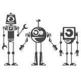 Flat design style robots and cyborgs. Stock Images