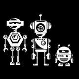 Flat design style robots and cyborgs. Stock Photo