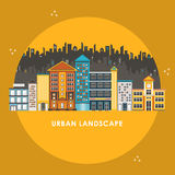 Flat design style for urban landscape Stock Images