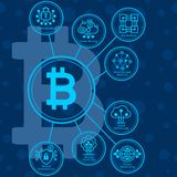 Bitcoin infographics with rounded icons. royalty free illustration