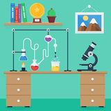 Flat design style vector illustration icons set of science and technology development. Laboratory workspace and workplace concept. Flat design style vector