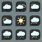 Flat design style weather icons and stickers set Royalty Free Stock Photography