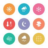 Flat design style weather icons Stock Photography