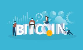 Bitcoin exchange. Flat design style web banner of blockchain technology, bitcoin, altcoins, cryptocurrency mining, finance, digital money market, cryptocoin Royalty Free Stock Image