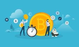 Bitcoin exchange. Flat design style web banner of blockchain technology, bitcoin, altcoins, cryptocurrency mining, finance, digital money market, cryptocoin vector illustration
