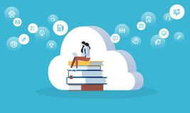 Flat design style web banner for education cloud, distance education and training, digital library. Vector illustration concept for web design, marketing, and Royalty Free Stock Images