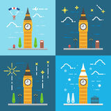 Flat design 4 styles of Big ben clock tower London Stock Photos