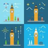 Flat design 4 styles of Big ben clock tower London Stock Photos