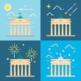 Flat design 4 styles of Brandenburg gate Berlin Germany Stock Images