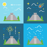 Flat design 4 styles of Chichen Itza Yuacatan Mexico Stock Image