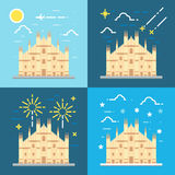 Flat design 4 styles of Duomo di Milano Italy Royalty Free Stock Photos