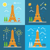 Flat design 4 styles 0f Eiffel tower Paris France Royalty Free Stock Images