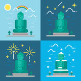 Flat design4 styles of Kamakura Buddha Kanagawa Japan Royalty Free Stock Photos