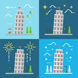 Flat design of 4 styles leaning tower of Pisa Italy Royalty Free Stock Photography