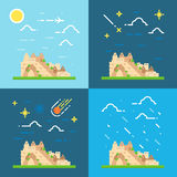 Flat design 4 styles of Machu Picchu Peru Royalty Free Stock Images