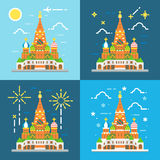 Flat design 4 styles of saint Basil's Cathedral Stock Image