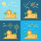Flat design 4 styles of Sphinx of Giza Egypt Royalty Free Stock Images