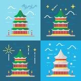 Flat design 4 styles of summer palace Beijing China Royalty Free Stock Image