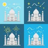 Flat design 4 styles of Taj Mahal India Stock Image