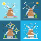 Flat design 4 styles of windmill Amsterdam Netherland Royalty Free Stock Photography