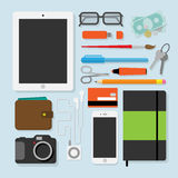 Flat design stylevector illustration of every day things Stock Images