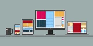Flat design stylish  illustration of designer desk with de Stock Photo