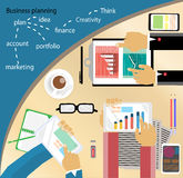 Flat design stylish vector illustration of routine organization of modern business works pace in the office.Business Plan. With graph Stock Photography