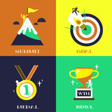 Flat design for success concepts set Stock Images