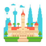 Flat design Sultan Ubdul Samad Royalty Free Stock Photo
