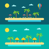Flat design of summer paradise beach Royalty Free Stock Images