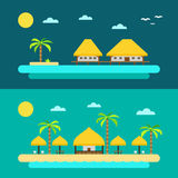 Flat design of summer paradise beach Royalty Free Stock Image