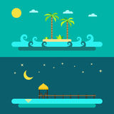 Flat design of summer paradise beach Royalty Free Stock Photos