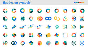 Flat design symbols, signs, abstract icons Stock Photography