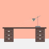 Flat design table and lamp Royalty Free Stock Photos