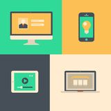 Flat design, tablet phone computer and laptop Stock Photography