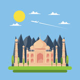 Flat design of Taj Mahal Royalty Free Stock Photo