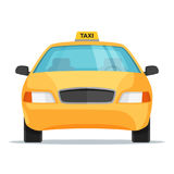 Flat design taxi car front view. Vector illustration. Royalty Free Stock Photos
