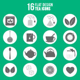 Flat design tea icons set Royalty Free Stock Images