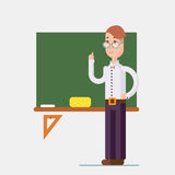 Flat design teacher characters. Teacher standing in front of blackboard in classroom at school, college or university. Flat design people characters Royalty Free Stock Image