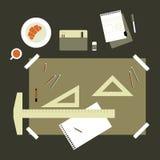 Flat Design Technical Drawing Set Stock Photos