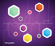 Flat design template with hexagon shape bubbles. Stock Photography