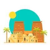 Flat design of Thebes Luxor temple in Egypt Royalty Free Stock Image